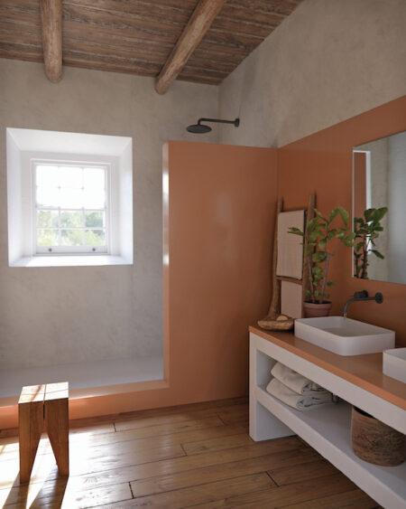 Image of Silestone Bathroom Arcilla Red low 1 in Dekton® ist CO2-neutral über den gesamten Lebenszyklus - Cosentino