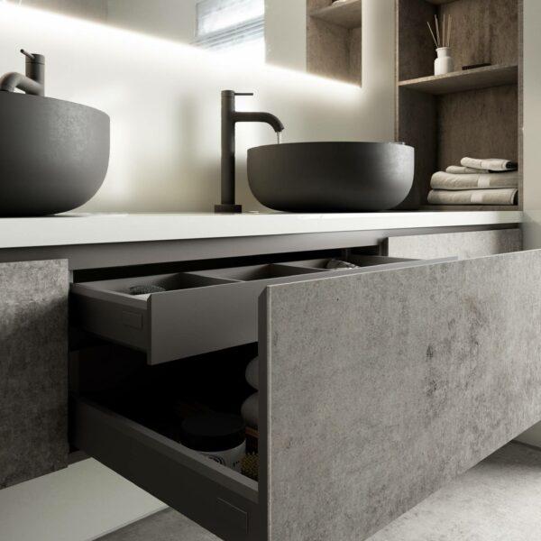 Möbel-Verkleidung mit Dekton® Kreta: 4 mm schlank und CO2-neutral hergestellt aus natürlichen Materialien.