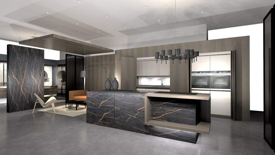 Image of rendering Musterkueche ceram Dekton laurent klein in So viel mehr als Küche - Cosentino