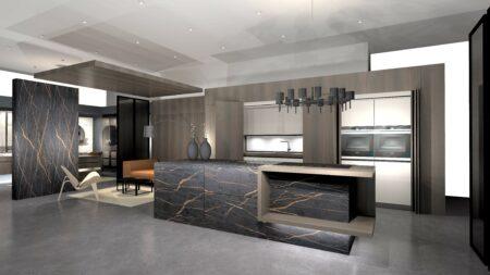 Image of rendering Musterkueche ceram Dekton laurent klein in Küchenfußboden - Cosentino