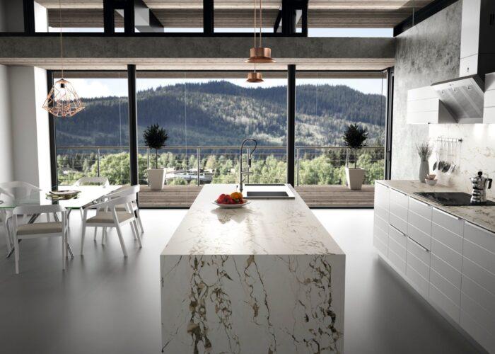 Image of RS11284 Dekton Kitchen Bedrock lpr 1 in Do you dream of the perfect white kitchen? - Cosentino