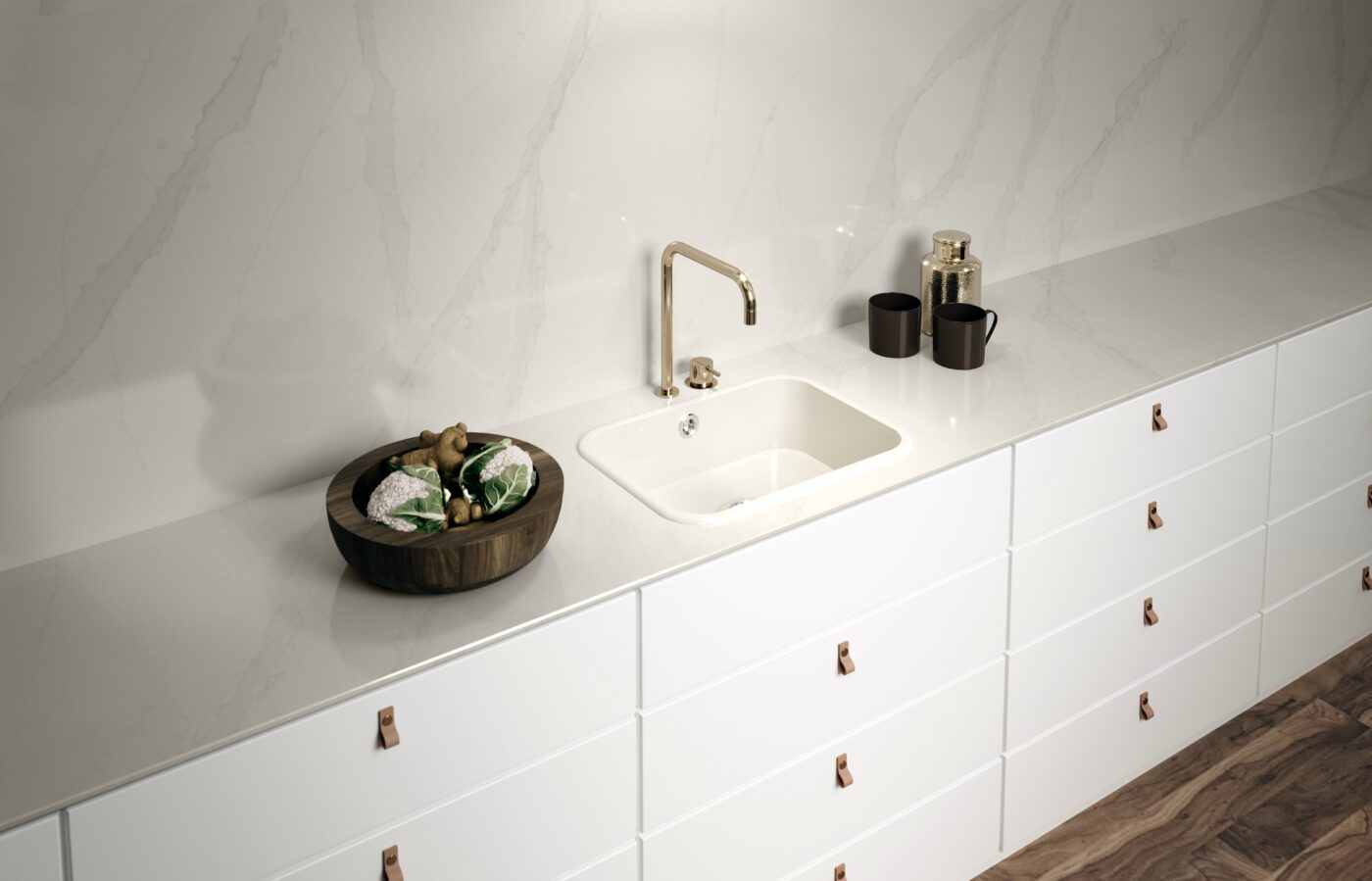 Image of Ambiente Integrity Top Blanco Zeus 1 in Kitchen Sinks - Cosentino