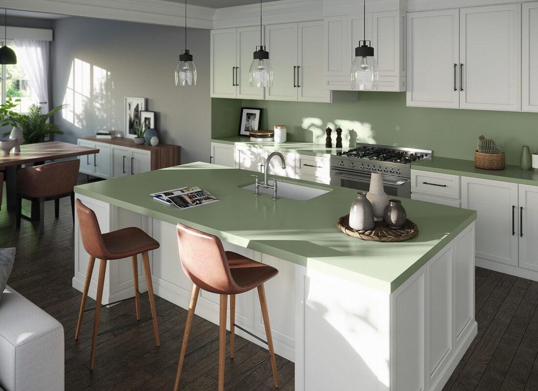 Image of Silestone Sunlit Days Posidonia Green kitchen web in Home Cosentino - Cosentino