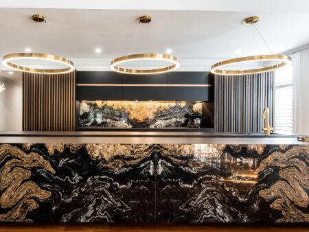 Image of Cosentino A breathtaking kitchen created with Cosentinos Sensa® Orinoco Dekton® Domoos and Dekton® Laurent surfaces August 01 in Home Cosentino - Cosentino