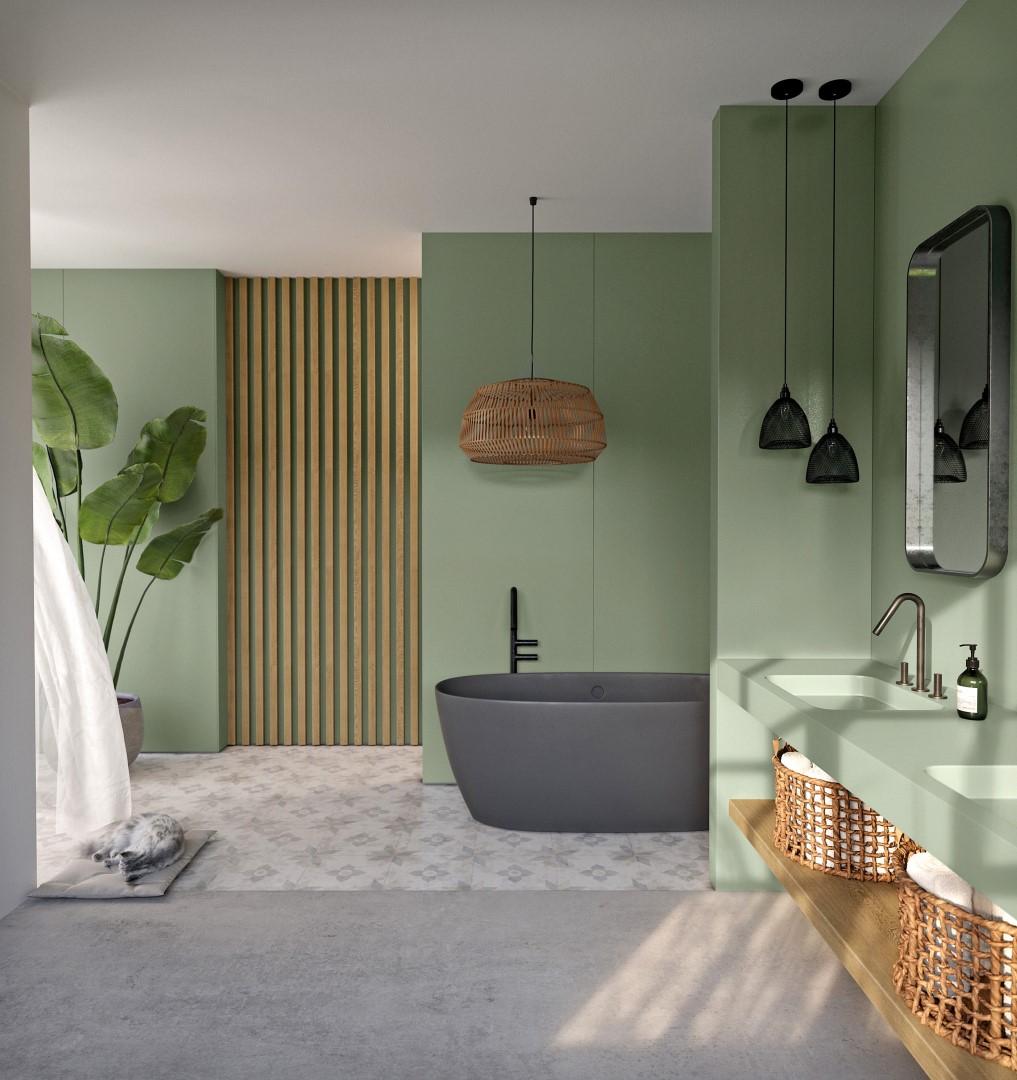 Image of Silestone Sunlit Days Posidonia Green bathroom 2 in Cosentino Awarded Gold Status by Supply Chain Sustainability School - Cosentino