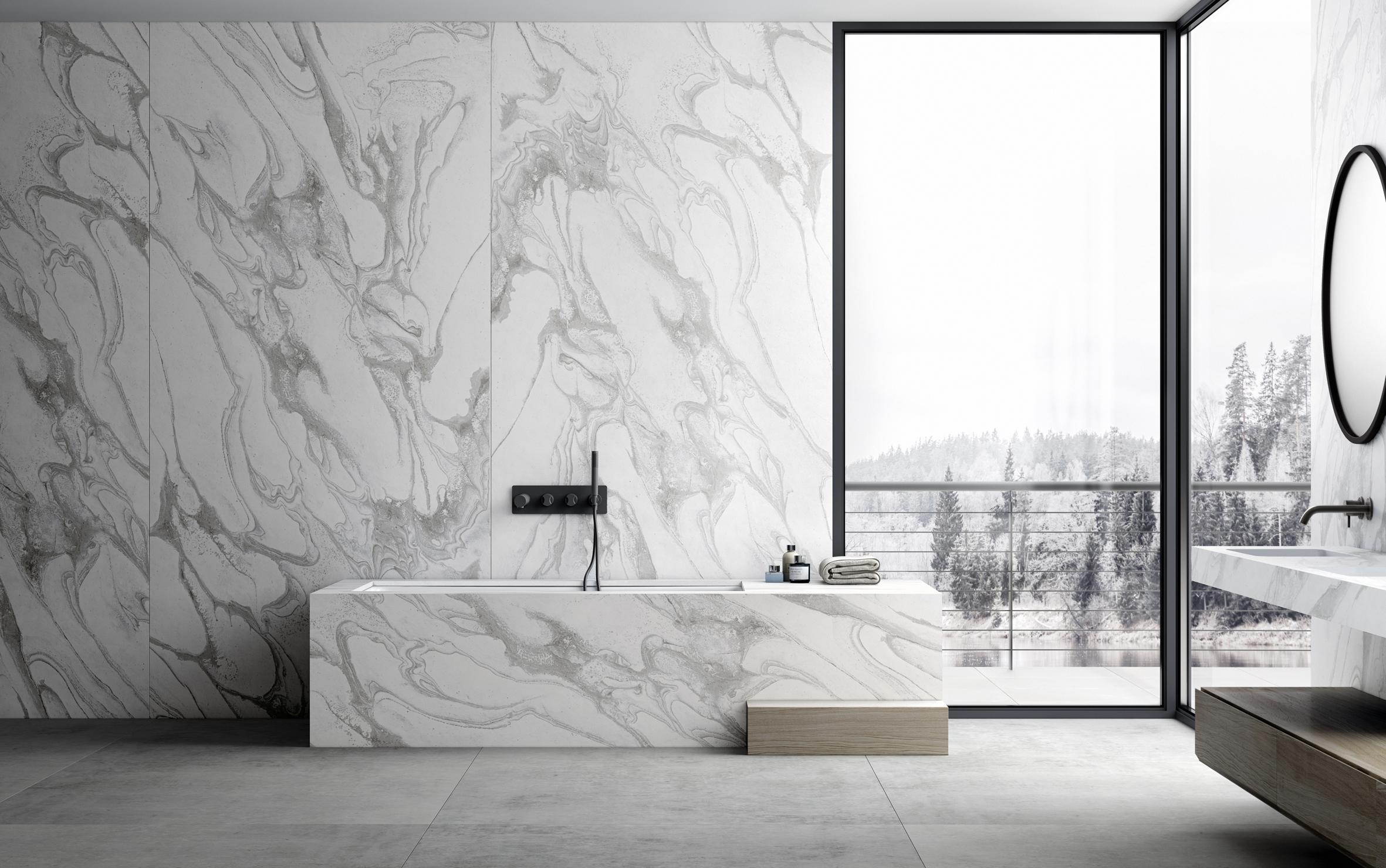 Image of Dekton Liquid Sky Bathroom Lifestyle in Dekton by Cosentino Shortlisted in BKU Awards 2021 - Cosentino