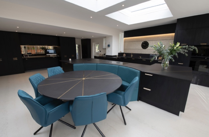 Contrasting Dekton Worksurfaces and Flooring Help to Create a Dramatic Look for Open-Plan Living