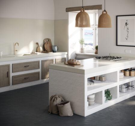 Image of 3. Silestone Sunlit Days Faro White Kitchen Lifestyle in OTOMOTO Kitchen Sink with Silestone - Cosentino