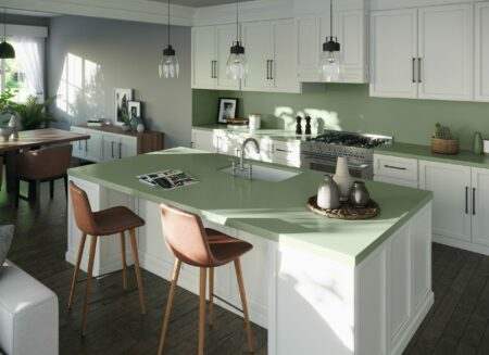 Image of Silestone Sunlit Days Posidonia Green kitchen scaled in FX International Interior Design Awards Recognises Silestone Sunlit Days as a Finalist - Cosentino