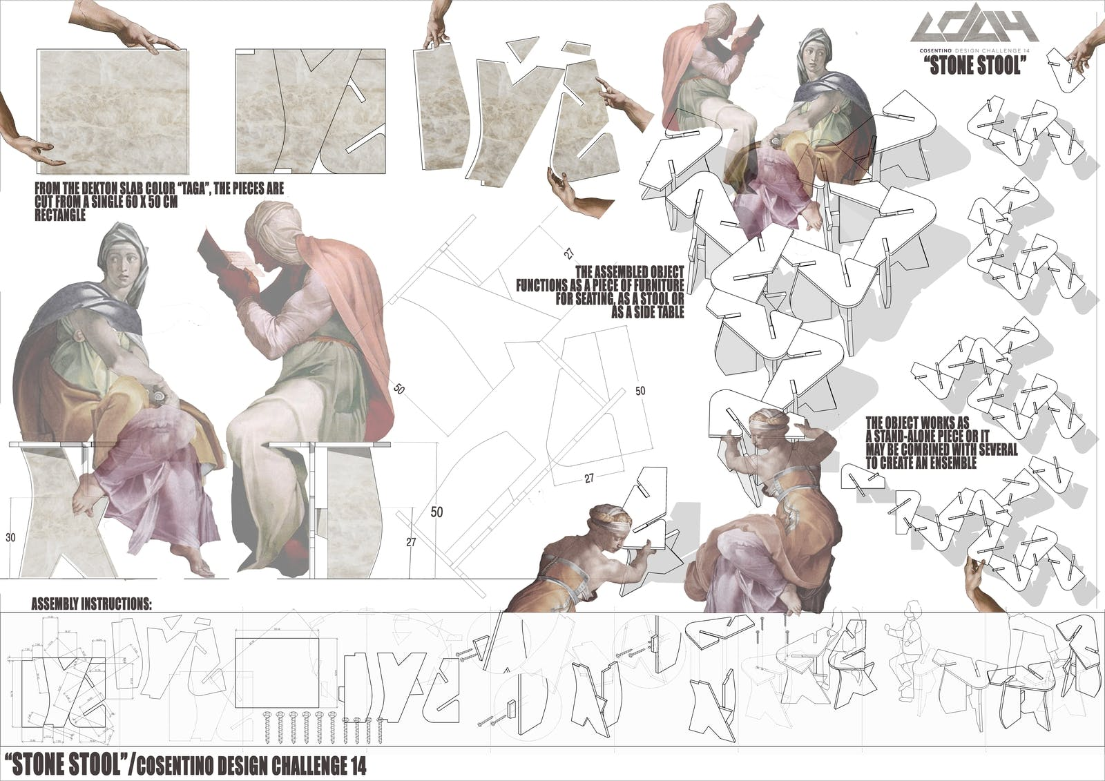 Image of 054 STONE STOOL s 1 in Ganadores Cosentino Design Challenge 14 - Cosentino