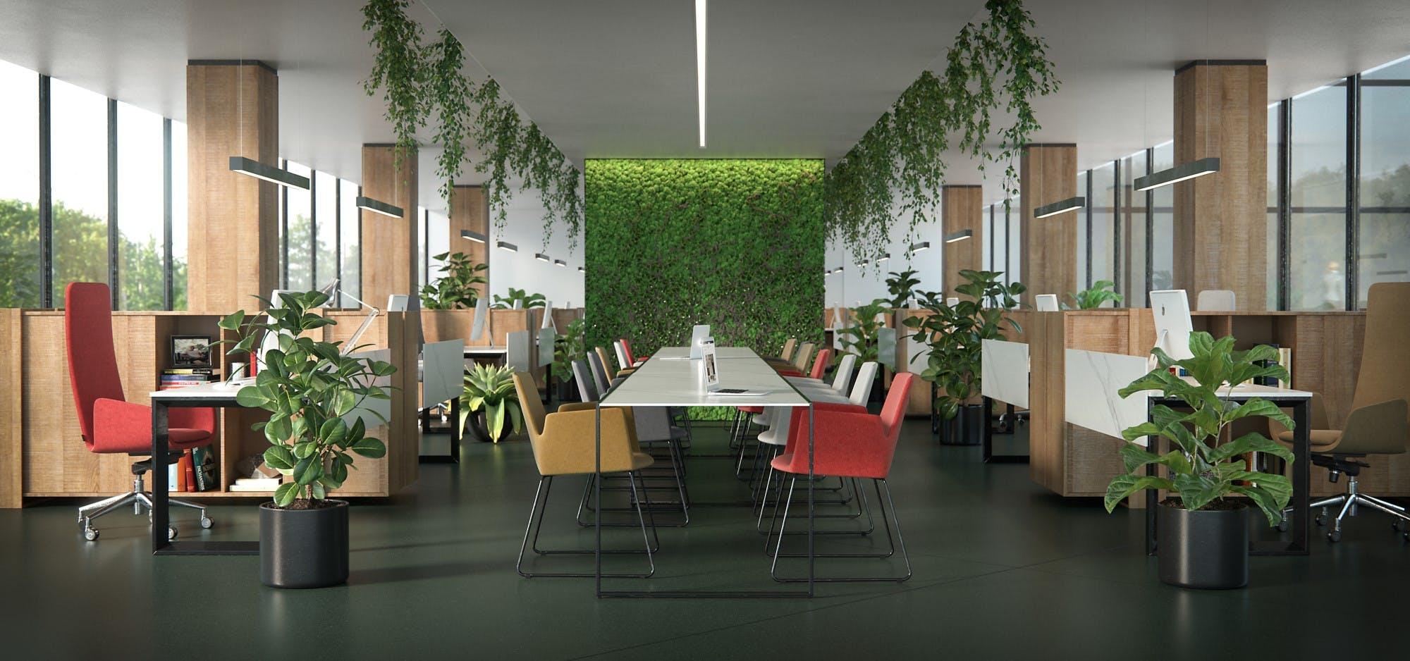 Image of Dekton Office Feroe baja in Dekton® lanza un azul y verde oscuros que otorgan elegancia a cualquier espacio - Cosentino