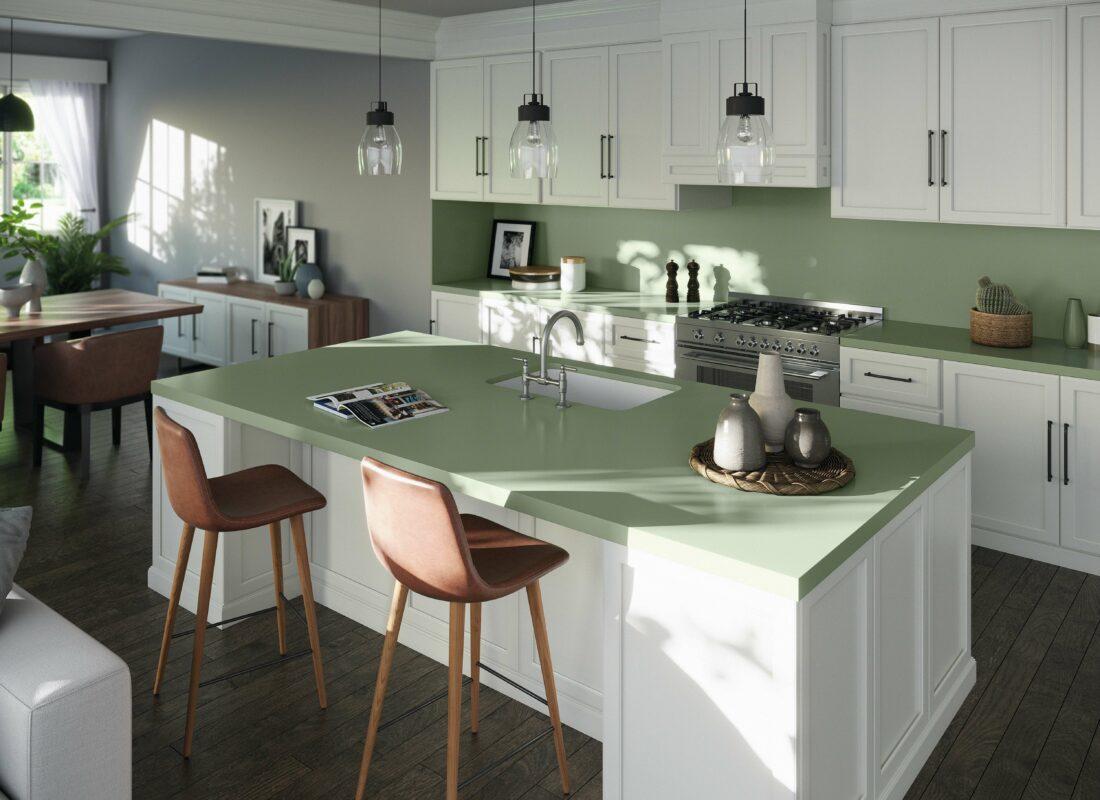 Image of Silestone Sunlit Days Posidonia Green kitchen in Le groupe Cosentino présent à Milan à l'occasion de cette semaine forte du design - Cosentino