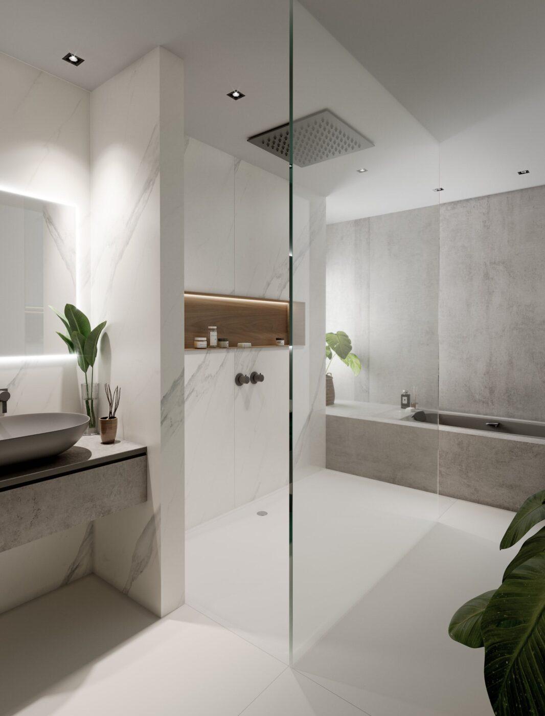 Cinque straordinarie idee di design per stanze da bagno in bianco e grigio