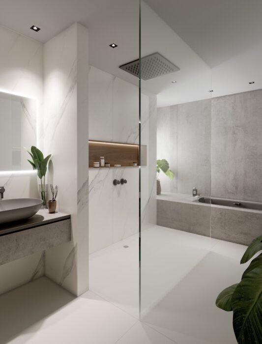 Image of Baño gris blanco 2 in Cinque straordinarie idee di design per stanze da bagno in bianco e grigio - Cosentino