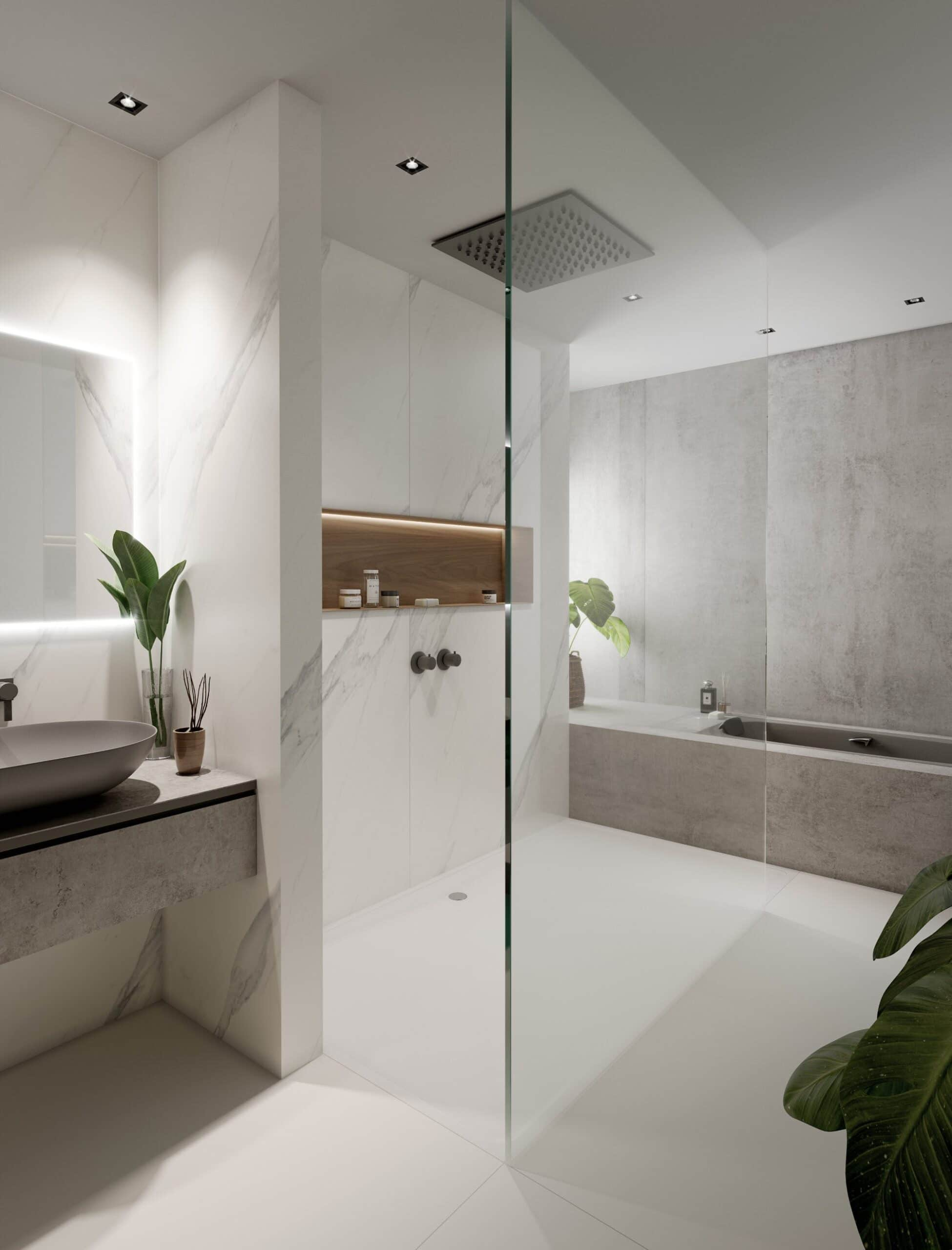 Image of Baño gris blanco 2 scaled in {{Five cool design ideas for grey and white bathrooms}} - Cosentino