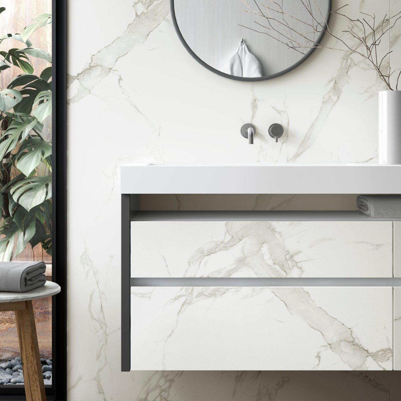 Image of Dekton Bathroom Aura 15 Detalle in Cinque straordinarie idee di design per stanze da bagno in bianco e grigio - Cosentino