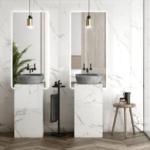 Image of Dekton Bathroom Natura 18 in Cinque straordinarie idee di design per stanze da bagno in bianco e grigio - Cosentino
