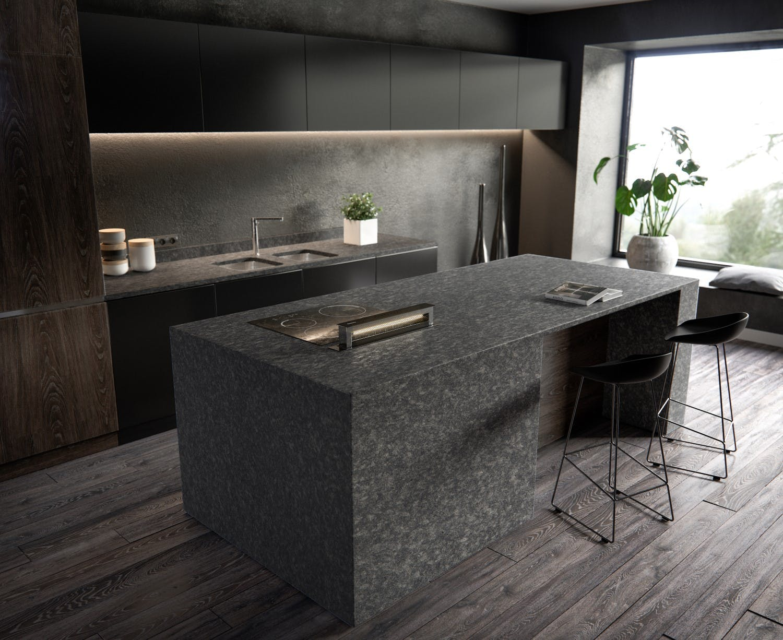 Image of Sensa Kitchen Graphite Grey lr in Sensa | Worktops - Cosentino