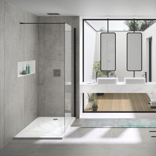 Image of Marie by Silestone Bathroom Wash Basin in Calacatta Gold with Dekton Kreta shower cladding in Cinco ideias de design interessantes para casas de banho em tons de cinzento e branco - Cosentino