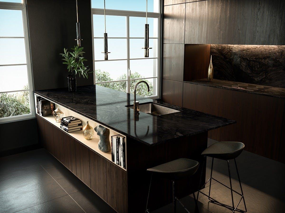 Image of cocina negra medida in Sete ideias para refrescar a sua cozinha - Cosentino