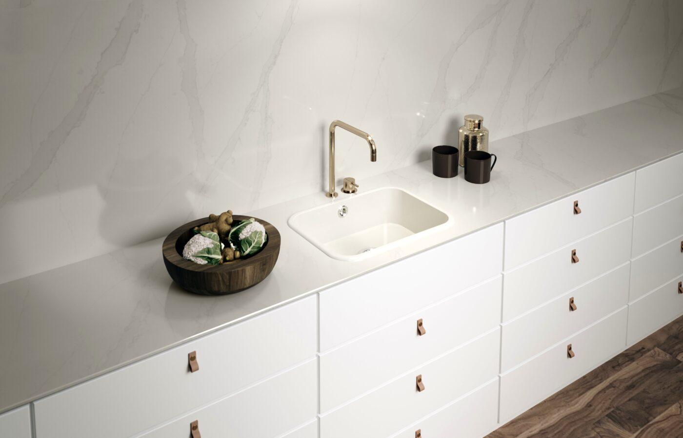 Image of Ambiente Integrity Top Blanco Zeus 1 in Lava-loiças de cozinha - Cosentino