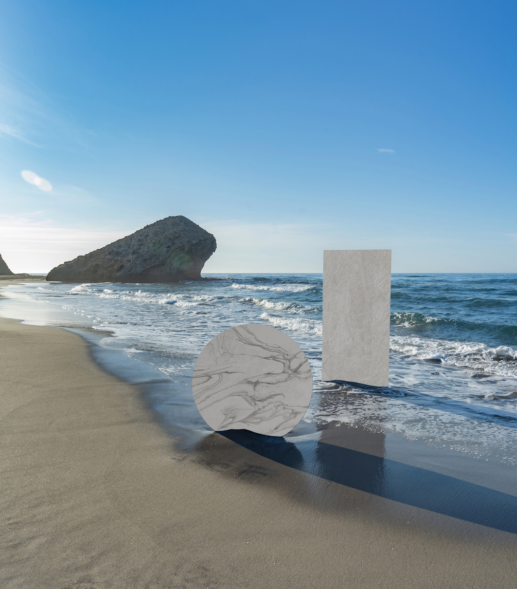 Image of Dekton Liquid Sky and Liquid Shell in Dekton®, a Carbon Neutral product for its entire life cycle - Cosentino