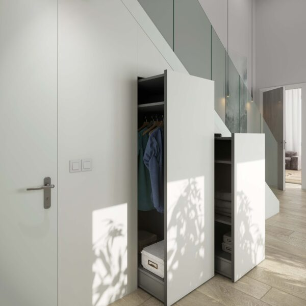 Image of Ambiente escalera armarios Dekton Slim Zenith lr in Tips and advice for keeping your kitchen clean and disinfected - Cosentino