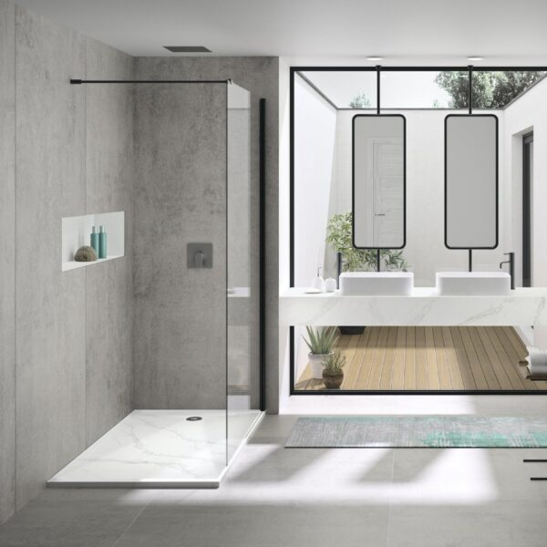Image of Marie by Silestone Bathroom Wash Basin in Calacatta Gold with Dekton Kreta shower cladding in Five cool design ideas for grey and white bathrooms - Cosentino
