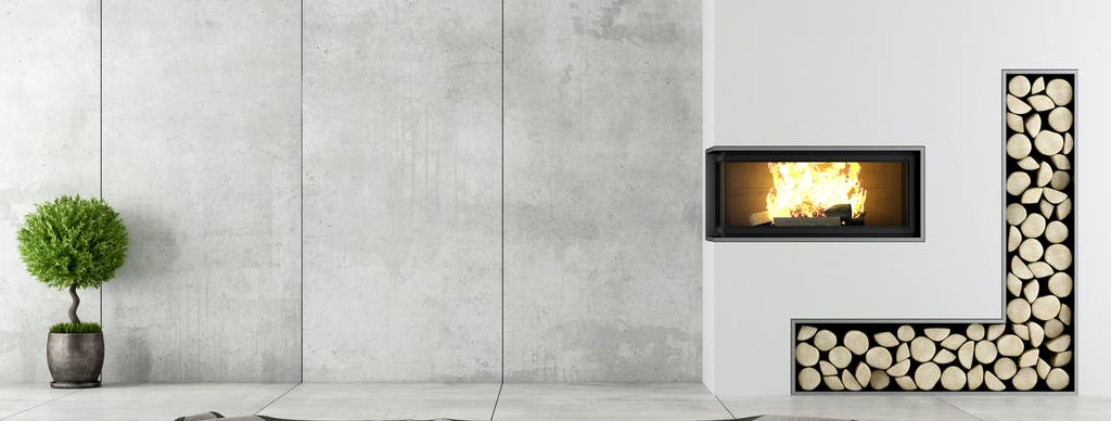 Image of Porcelánico gran formato chimenea in The welcoming warmth of home that only a fireplace can offer - Cosentino