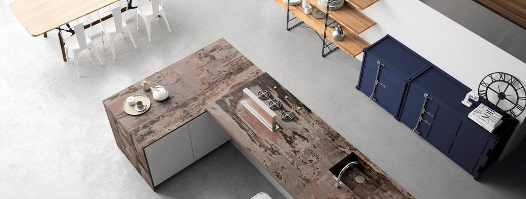 Image of RS11266 Dekton Kitchen Trilium Top View in The best floors for kitchens - Cosentino