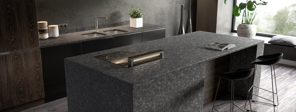 Image of Sensa Kitchen Graphite Grey lr 1 in {{Properties and types of granite – a material that is taking homes by storm}} - Cosentino