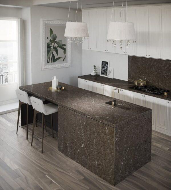Image of Silestone® Eternal Emperador kitchen island countertop backsplash in Modern kitchens: five ingredients to try in 2020 - Cosentino