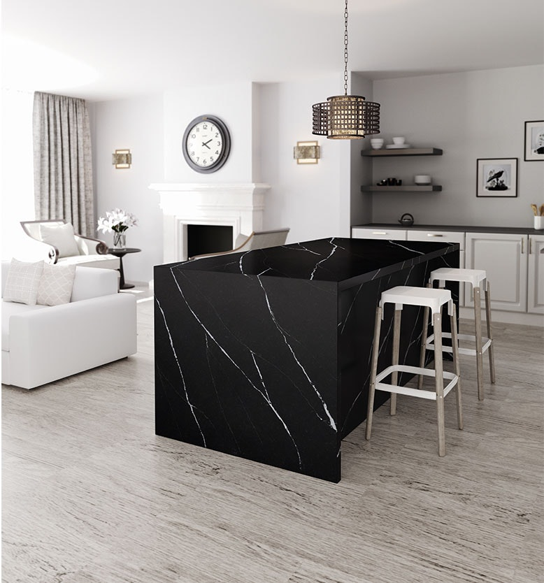 Image of espacio 5 Eternal Marquina Silestone Cosentino in Modern kitchens: five ingredients to try in 2020 - Cosentino
