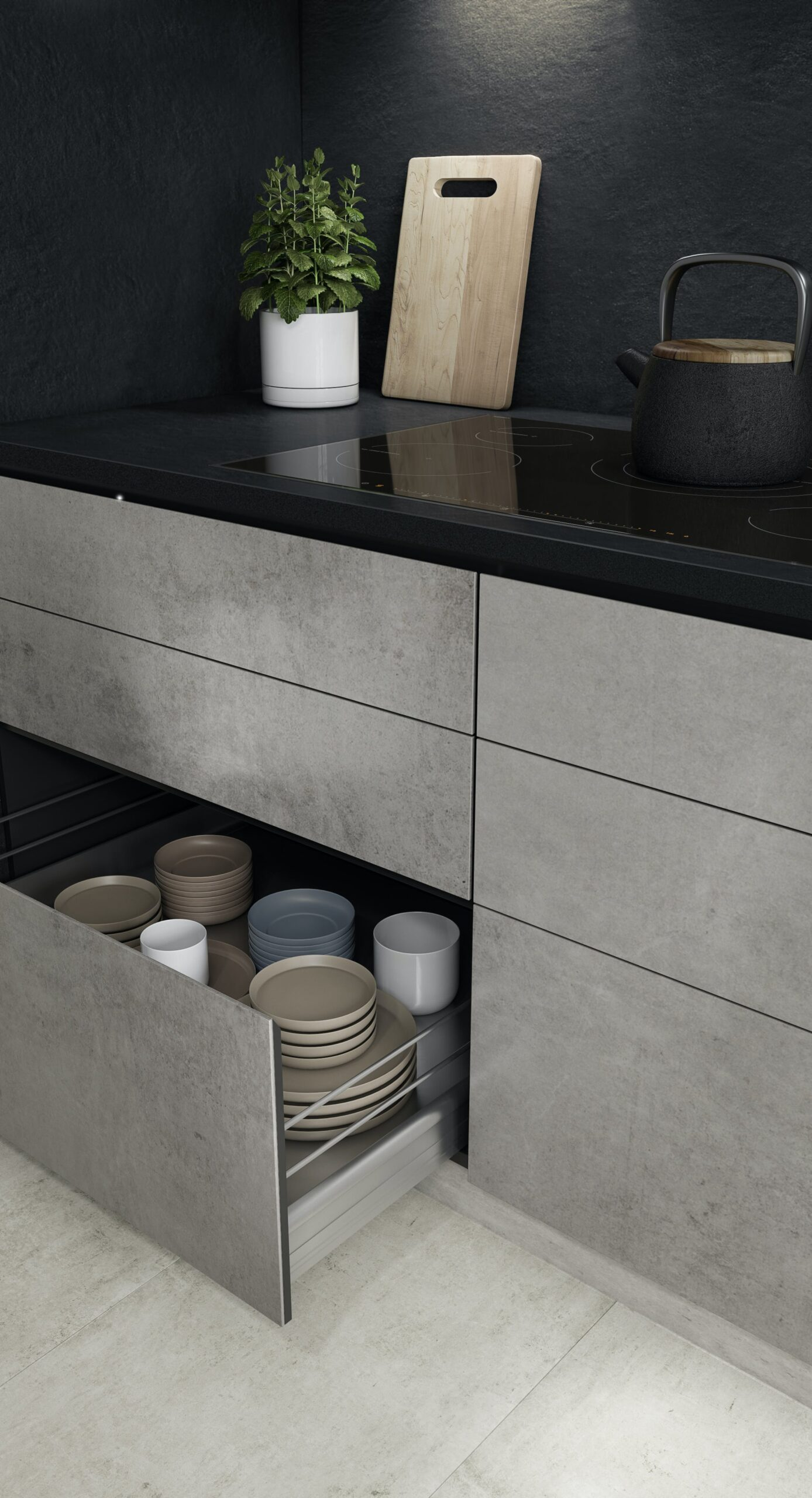 Image of AMBIENTE 05 COCINA CAJON ABIERTO 1 scaled in Compact kitchens: Who says they're a disadvantage? - Cosentino