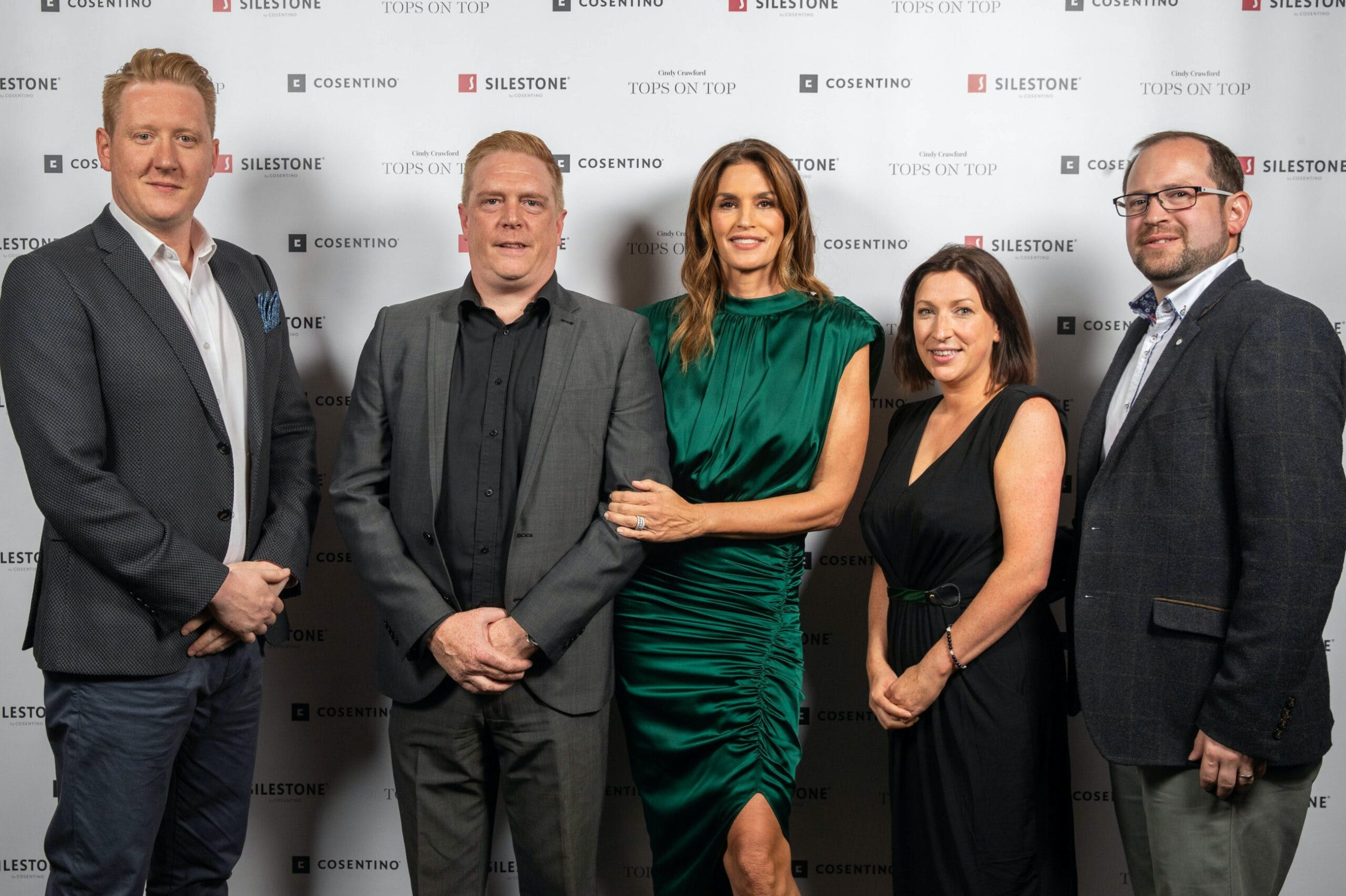 """Image of Christopher Hay Brett Wallace Cindy Crawford Laura Davie Ross Stewart Silestone London 3 scaled in Silestone® Presents its New """"Tops on Top 2019"""" Campaign Featuring Cindy Crawford - Cosentino"""