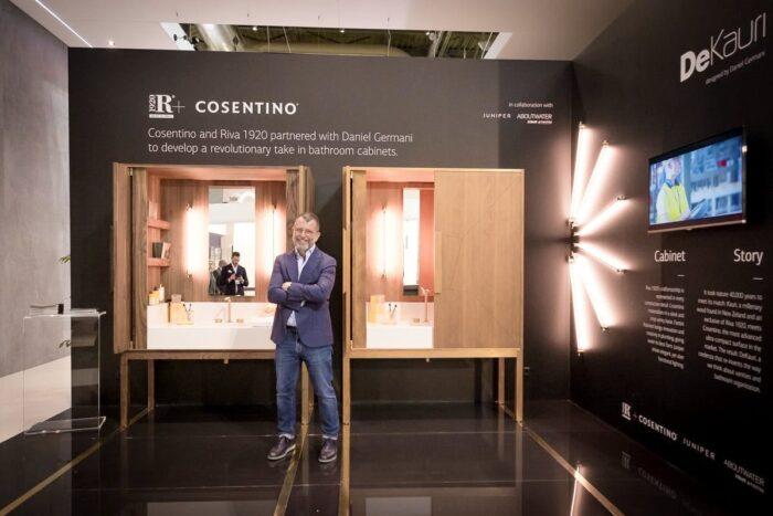 """Image of Daniel Germani DeKauri Cosentino stand Salone del Mobile 2018 1 in The best """"Elite"""" shops in Europe visit Cosentino - Cosentino"""
