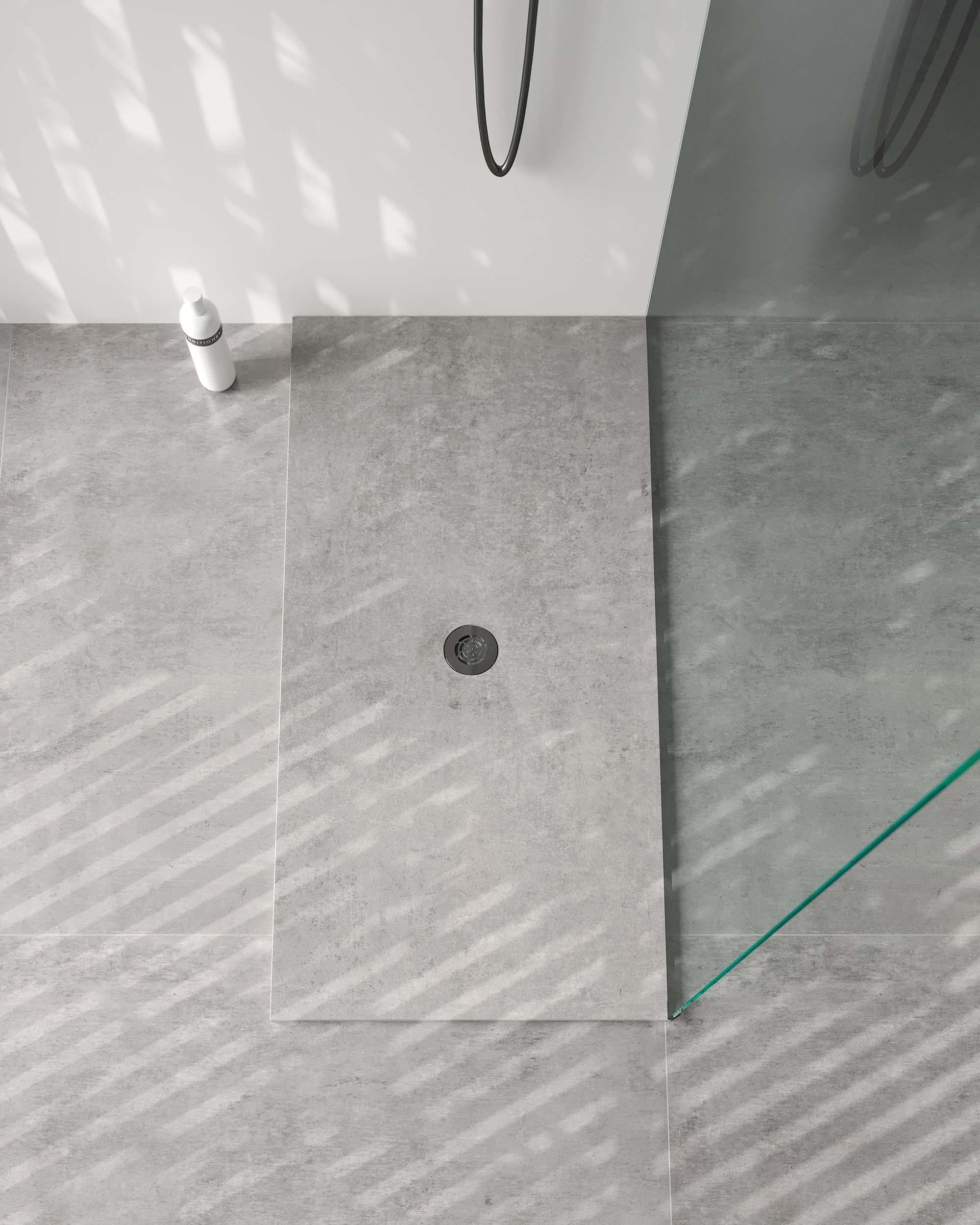 Image of Dekton Bathroom Kreta Plato de Ducha Gocce Kreta baja 4 in Cosentino at KBIS 2021 - Cosentino