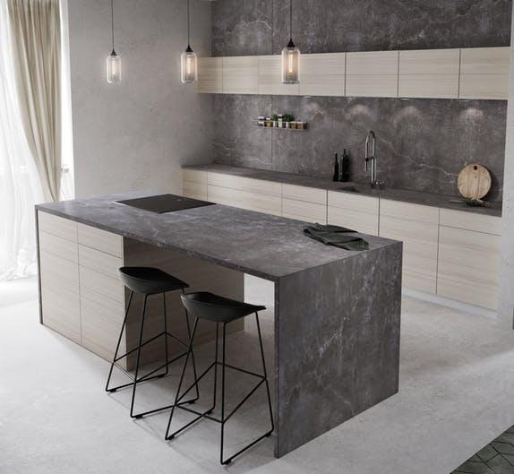 """Image of Dekton Kitchen Laos lr 3 in New Dekton® and Silestone® colours: """"cement"""" and """"natural"""" trends - Cosentino"""