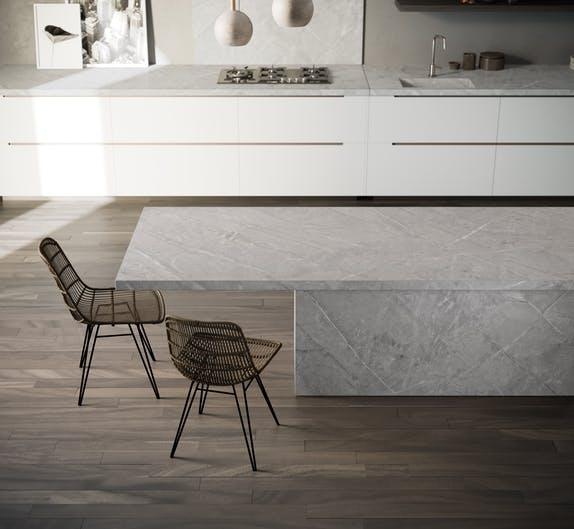 """Image of Dekton Kitchen Vera lr 2 in New Dekton® and Silestone® colours: """"cement"""" and """"natural"""" trends - Cosentino"""