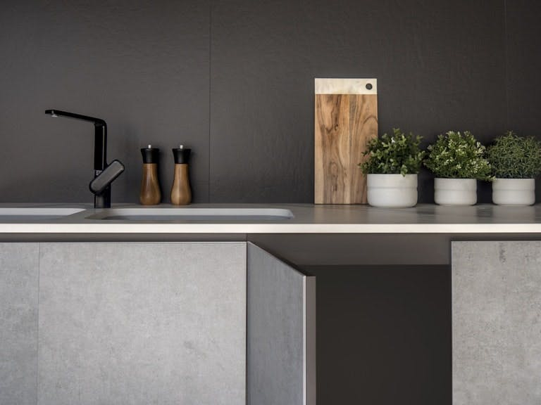 Image of Dekton Slim Kitchen Furniture 1 3 2 in How to organise your kitchen and keep it that way - Cosentino