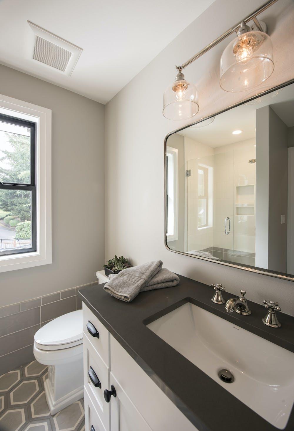 Image of Landons Bathroom Silsetone Cemento Spa 1 in 2018 Northwest Idea House Features Dekton & Silestone Surfaces - Cosentino