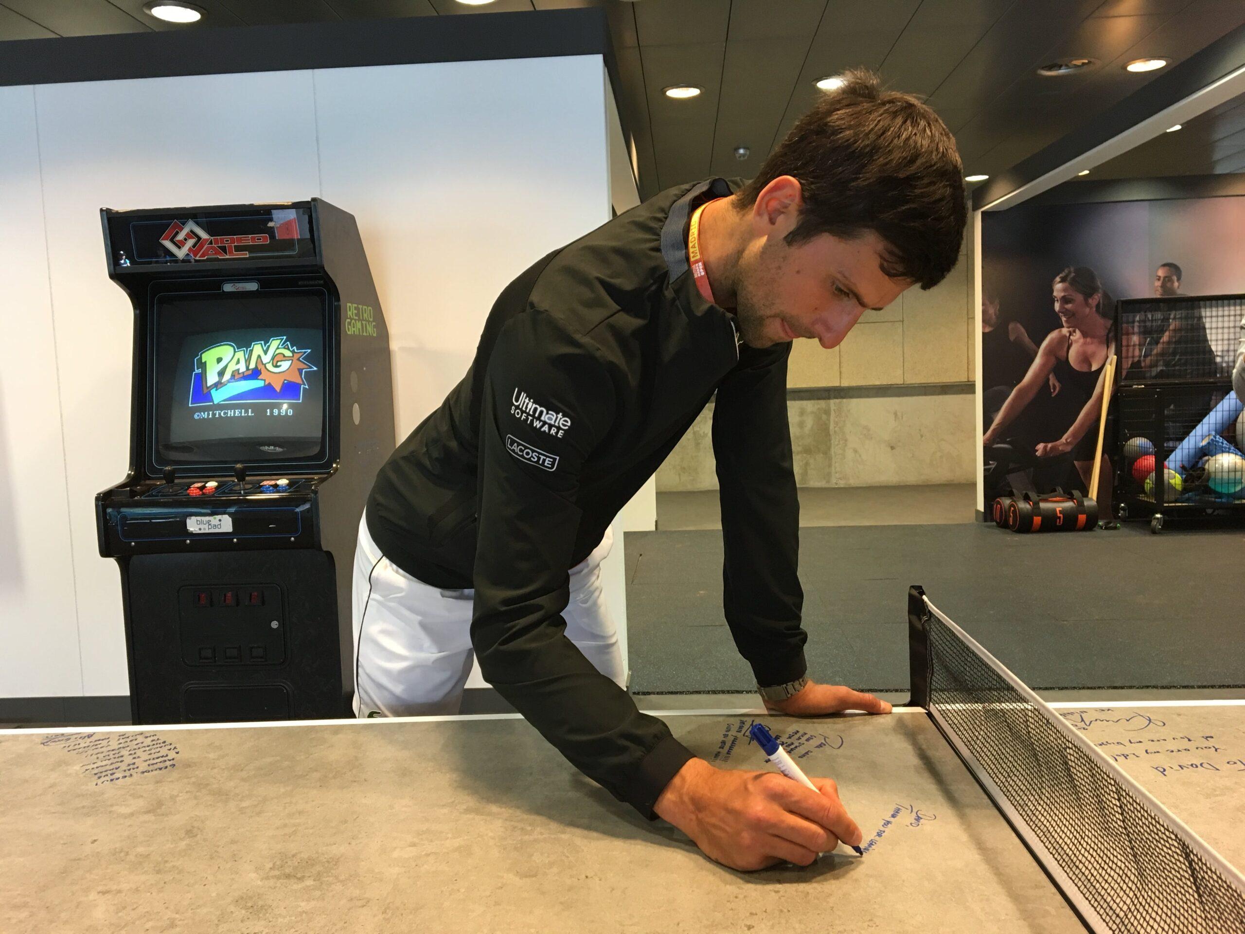 Image of Novak Djokovic Dekton by Cosentino´s ping pong table 1 1 scaled in Dekton® stars at the Mutua Madrid Open - Cosentino