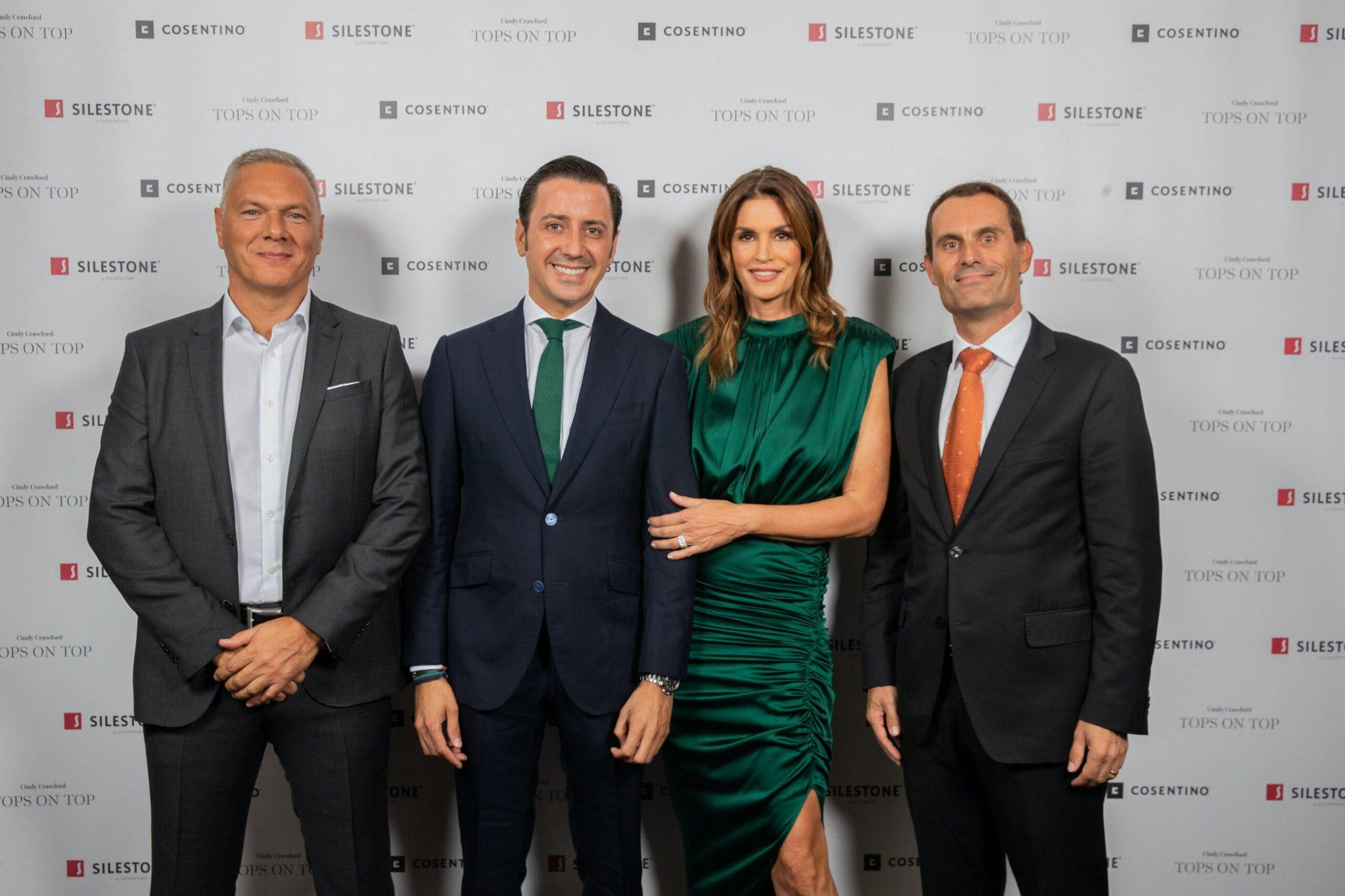 """Image of Paul Gidley Eduardo Cosentino Cindy Crawford Pedro Parra 3 scaled in Silestone® Presents its New """"Tops on Top 2019"""" Campaign Featuring Cindy Crawford - Cosentino"""