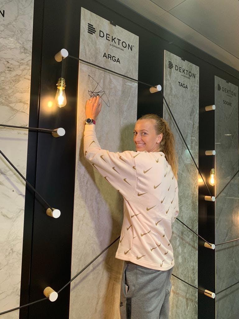 Image of Petra Kvitová en Salon Cosentino en MMO 2019 2 1 in Dekton® stars at the Mutua Madrid Open - Cosentino