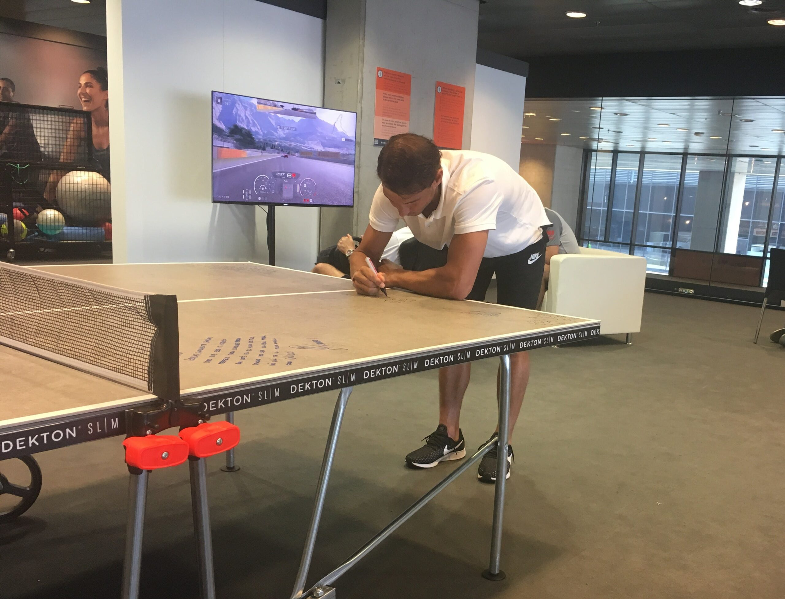 Image of Rafa Nadal Dekton by Cosentino´s ping pong table 1 scaled in Dekton® stars at the Mutua Madrid Open - Cosentino