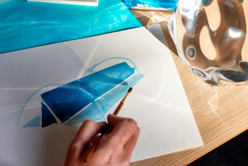 "Image of Raytrace watercolour sketch LAYER for DEKTON by Cosentino Image Credit Jose Santopalomo in ""Raytrace"" by Cosentino and Benjamin Hubert - Cosentino"