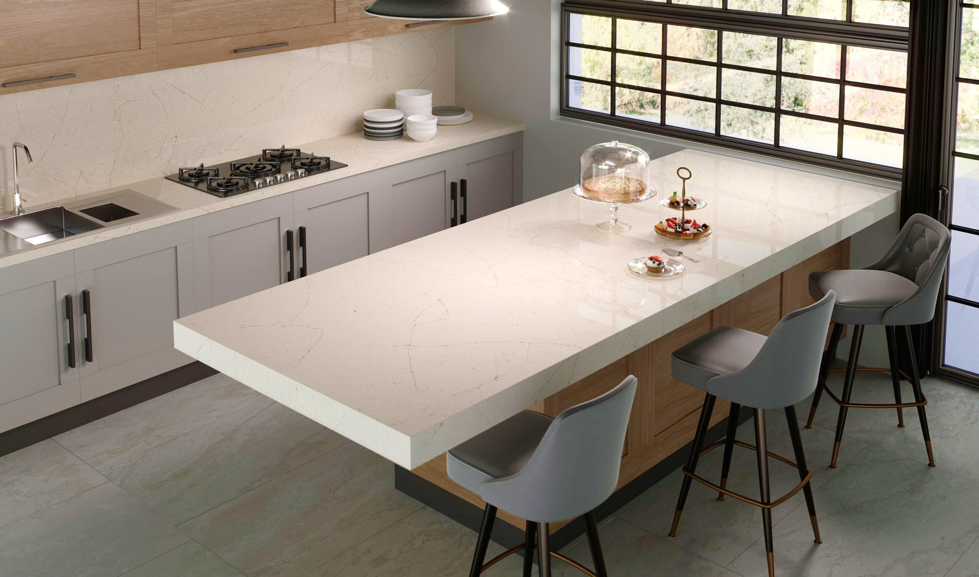 Image of Silestone Kitchen HD Eternal Marfil 3 1 2 6 in The Elegance of Crema Marfil Marble - Cosentino