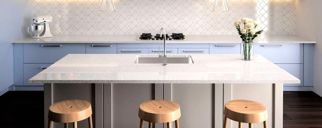 Image of Silestone cocina4 USA Moonstone 1 2 in Office in the kitchen - Cosentino