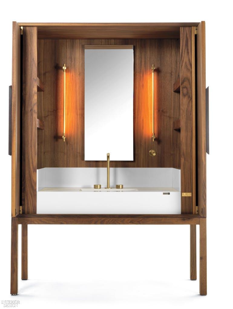 Image of daniel germani dekauri vanity doors open sink 01WH 1 in Dekton® Industrial Collection and DeKauri win 2018 GOOD DESIGN Award - Cosentino