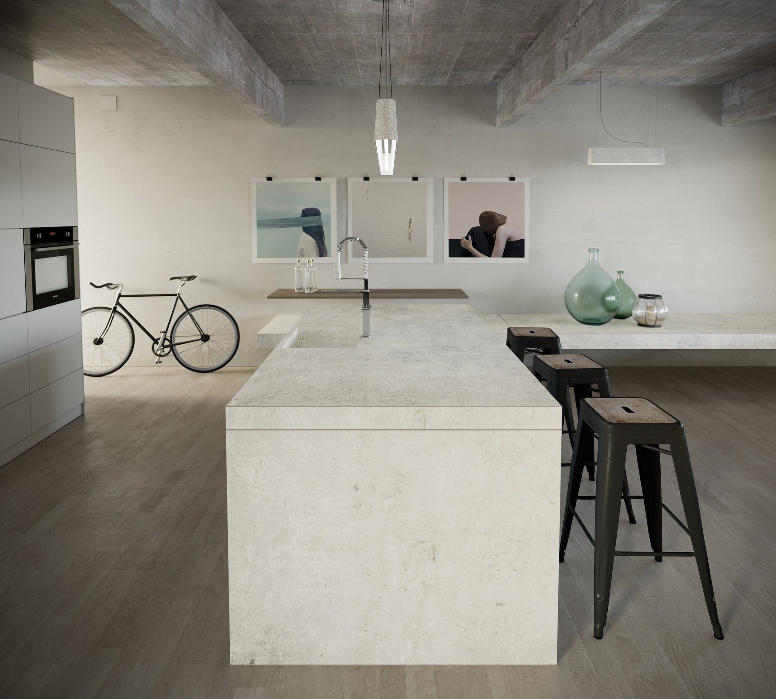 Image of dekton industrial kitchen lunar 3 1 in The Top 7 Kitchen Makeover Trends - Cosentino